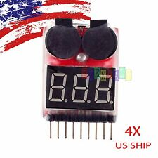 X4 RC Lipo Battery Low Voltage Alarm 1S-8S Buzzer Indicator Checker Tester LED