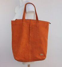 Australia Luxe Collective Suede Top Zip Oversized Tote Bag Solid Orange  NEW
