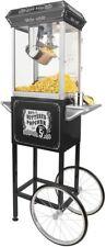 4 Oz. Popcorn Machine Cart Black Popper Hot Oil Side Glass Style Warming Light