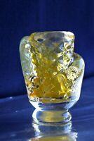 Glas Skulpturvase schwere Vase goldene Staub 50er Jahre signiert