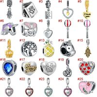 European Silver Charms Enamel Hearts Beads CZ Pendant Fit 925 Sterling Bracelets