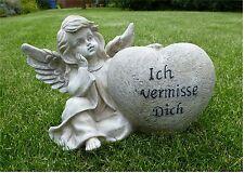 *XL Grabengel mit Herz Grabschmuck Grabdeko Engel *Ich vermisse Dich* grau-antik