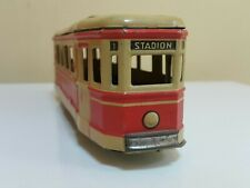 VINTAGE TROLLEY TRAIN 599 STADION 1 TIN FRICTION TOY MSB VEB GERMANY 60's WORKS