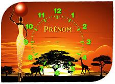 horloge pendule murale afrique personnalisée  prénom au choix réf F 55