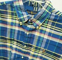 RALPH LAUREN Mens XLT Big&Tall Blue Plaid Oxford Button Down Casual Shirt Cotton