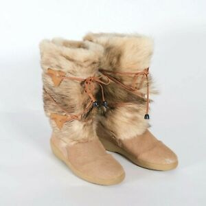 Italian Fur Boots Womens Size 8 OSCAR TAIGA Winter Booties Made in Italy Size 39