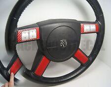 Dodge Charger / Chrysler 300 RED Carbon Fiber Steering Wheel Spoke Decal Cover