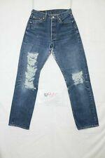 Levi's 501 strappato destroy usato (Cod.U910) W29 L30 denim jeans dritto