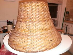 """Classic Bell Style Large Lamp Shade Amber Gold brown 17"""" wide x 11"""" tall 8 @ top"""