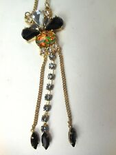 Vintage Costume Jewelry Rhinestone Necklace w Drops Opal Colored Center Stone