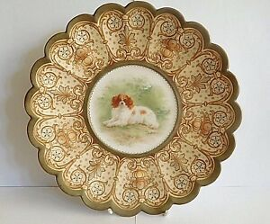 19TH C ROYAL DOULTON CABINET PLATE PAINTED SPANIEL TUBELINED  SIGNED H MITCHELL