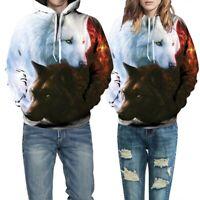Unisex Popular 3D Wolf Printed Pullover Hoodie Starry Hooded Jumper Sweatshirt s