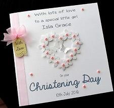 "Large 8"" HANDMADE PERSONALISED Flowerheart CHRISTENING CARD - Boy or Girl"
