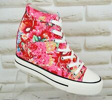 BESTELLE Floral Canvas Womens Hidden Wedge Sneakers Shoes Heels Size 5 UK 38 EU