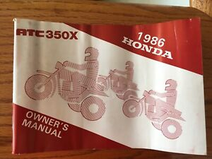 1986 Honda ATC 350x Original Owners Manual
