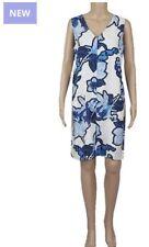 Ex Next Linen Dress Navy Blue and White New Tall Long