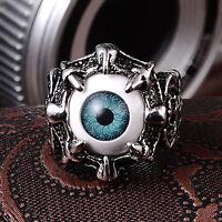 EE_ Men's Gothic Ring Dragon Eye Claw Evil Eyes Skull Biker Titanium Steel Divin
