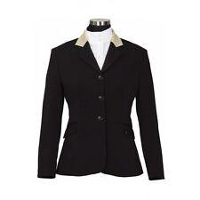 Ladies HUNT COAT BLACK suede collar show jacket sz 4 stretch washable NWT
