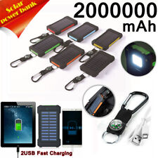 2000000mAh Waterproof Portable Solar Charger 2USB Solar Power Bank For Phone US