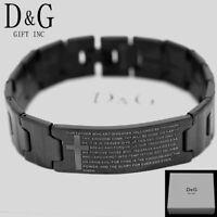 "DG Men's 8"" Stainless Steel,Black,BIBLE VERSES CROSS Lord prayer.ID Bracelet*Box"