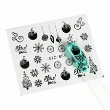 Nail Art Water Decals Stickers Christmas Black Snowflakes Tree Baubles Star 804