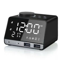 1X(Altavoz de Bajo Inalámbrico Bluetooth Reloj Despertador Doble LED Espejo V5W5