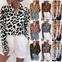 Women Snakeskin Print Long Sleeve Loose Tunic Comfy T Shirt Casual Blouse Top US