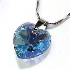 Blau Herz Original Swarovski Elements Kette Anhänger Damen-Geschenk Halskette