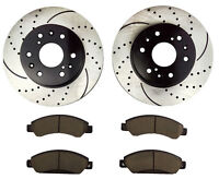 Ceramic Pads for 2000-2006 GMC Yukon GMC Yukon XL 1500//10038 Rear Brake Rotors