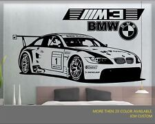 "BMW M3 GT2 M-Power Racing Sport Car Removable Wall Vinyl Decal Sticker 58"" X 22"""