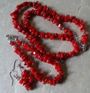 vintage red CORAL bead necklace bracelet pierced earring parure set -X5