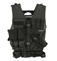 KYB® Black Tactical VEST Assault Airsoft Vests Hunting Molle Attachment Rig Mag