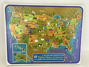 Vintage 1968 Whitman #4560 Picture Map Puzzle of 50 United States of America