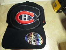 "MONTREAL CANADIENS ""ZEPHYR"" FLEX FIT HAT (SM/MED) BLACK W/RAISED ""CH"" LOGO NWT"