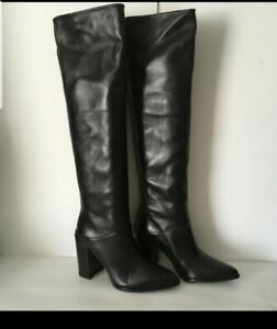 Stuart weitzman Scrunchy Leather Knee High Boot Black Size 6.5 $795+