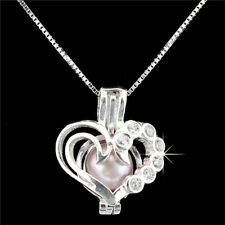 "K1162 S925 Sterling Silver Love Heart Pearl Cage Add Pearl Diffuser Chain 16"""