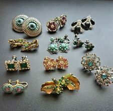 Lot Of 11 Vintage Antique Clip On And Screwback Earrings