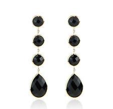 14K Yellow Gold Dangle Earrings With Fancy Cut Onyx Gemstones