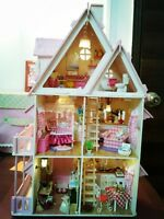 Big Villa Wood Dollhouse Dream Alice Light Miniature Furniture Kits DIY Houses #