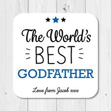 Personalised World's Best Godfather Coaster - Birthday Christening Gift Present