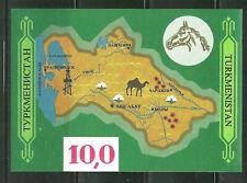 TURKMENISTAN 9 MNH S/S MAP OF TURKMENISTAN SCV 7.50
