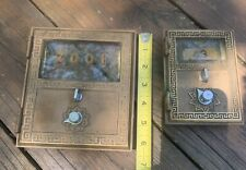 2 Vintage Antique Brass US Post Office PO Mail Box Doors, With Combo Locks.  VG