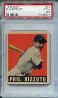1948 '48 Leaf Baseball #11 Phil Rizzuto Card PSA 3.5 New York Yankees