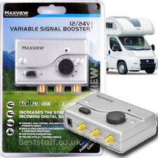 Maxview MXL008 12V/24 Volt TV/FM Variable Booster in WHITE for Trucks, Campers