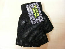MENS BLACK THERMAL FINGERLESS STRETCH GLOVES WITH RUBBER PALM GRIP - NEW