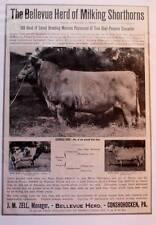 1917 ad Bellevue Shorthorn Cattle Bellevue Herd Conshoghocken PA Great Photos!