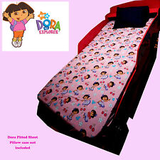 DORA THE EXPLORER FITTED SHEET PINK SINGLE BED FLANELL COTTON GIRLS BED COVER