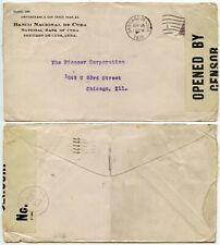 USA WW1 1918 SANTIAGO to CHICAGO PRINTED BANK ENVELOPE CENSOR 1742 KEY WEST