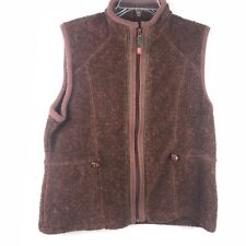 Womens WOOLRICH Java Heather zip soft pile Fleece VEST Jacket winter ski Medium