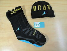 NIKE AIR JORDAN AJ XI 11 RETRO BEANIE STOCKING GIFT SET BLACK GAMMA BLUE